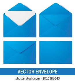 Set of blue vector envelopes in different views, isolated on a white background. Realistic blue vector envelope mockups.