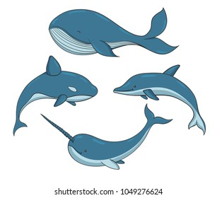 Set of blue vector underwater creatures with whales, narwhal and dolphin. Marine animals isolated on the white background.