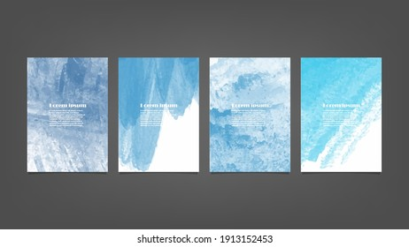 Set of blue vector watercolor backgrounds for poster, brochure or flyer, Bundle of watercolor posters, flyers or cards. Banner template.