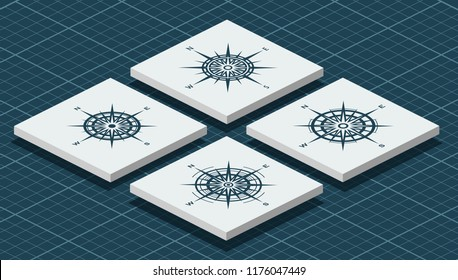 Set of blue vintage compass roses or wind roses. Isometric vector illustration.