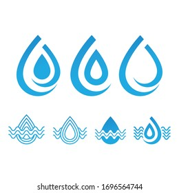 set of blue water drop icons abstract template vector
