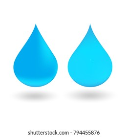 set blue water drop logo icon vector on white background