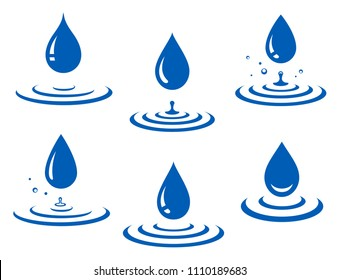 set of blue water drop and splash