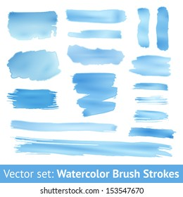 Set of blue watercolor brush stroke isolated on white background. Vector illustration for grunge design. Hand painted stain. Gradients with overlay. Size can be increased with quality preservation