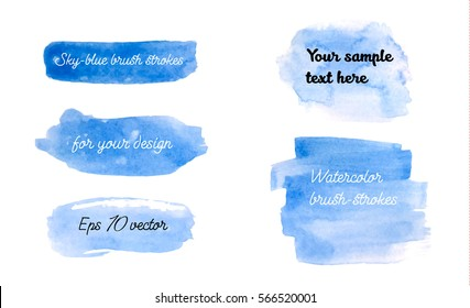 Set of blue watercolor brush strokes. Sky-blue watercolor hand drawn unique backgrounds for your design. Eps 10 vector illustration.