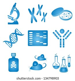 set of blue and white molecular biology science icons
