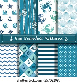 Set of blue and white sea seamless patterns. Scrapbook design elements. All patterns are included in swatch menu.