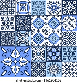 Set of blue and white tiles in Oriental style. Seamless patchwork pattern for printing on fabrics, packaging, wallpaper, ceramic tiles. Decorative texture for background design. Vector illustration.