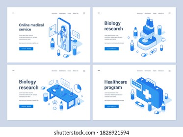 Set of blue and white vector illustrations of banners advertising various modern medical services and biology researches for pharmaceutical and healthcare industries