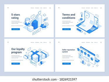 Set of blue and white vector illustrations of web banners representing various rating and loyalty systems for online store websites. 3D isometric web banners, landing page templates