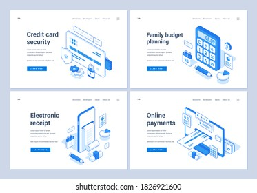 Set of blue and white vector illustrations of web banners advertising various means and services of modern finance management online. 3D isometric web banners, landing page templates