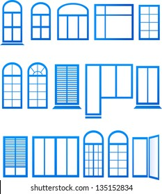 Set of blue window icons on white background