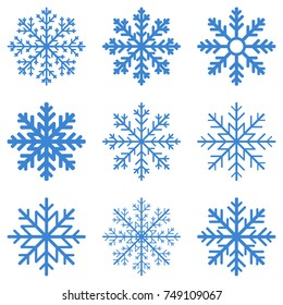 Set blue Winter Snowflake isolated on white background. Vector illustration.