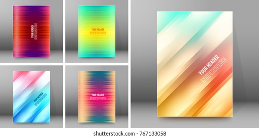 Set Blurred background advertising brochure design elements. Blurry light glowing graphic form for elegant flyer. Blur vector illustration eps10 for booklet layout, wellness leaflet, newsletters