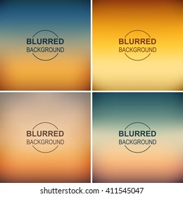 Set of blurred backgrounds. Vector blur sunset background. Abstract background
