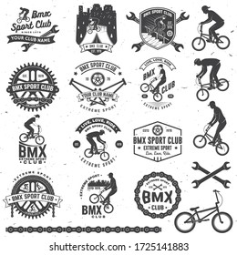 Set of bmx extreme sport club badge. Vector. Concept for shirt, logo, print, stamp, tee with man ride on a sport bicycle. Vintage typography design with bmx cyclist, bmx sprocket and chain silhouette.