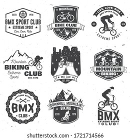 Set of bmx and mtb extreme sport club badge. Vector. Concept for shirt, logo, print, stamp, tee with man ride on a sport bicycle. Vintage typography design with cyclist, sprocket and chain silhouette.