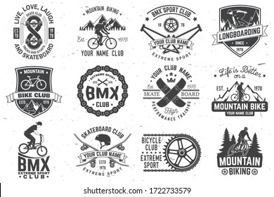 Set of bmx, skateboard and mtb extreme sport club badge. Vector illustration. Concept for shirt, logo, print, stamp, tee with man ride on a sport bicycle, skateboard and bmx. Extreme sport club badge