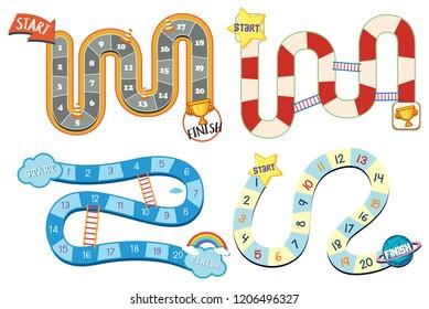 Set of board game template illustration