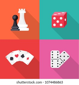 Set of Board games in flat style isolated on colorful background. Collection of Simple Chess, game cards, Dominoes and dice in flat style, vector illustration. Can be used in web and mobile design.