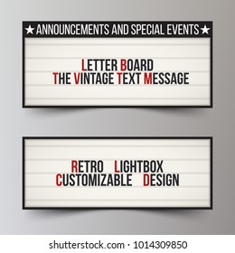 Set of boards for announcements. LED cinema lightbox. Classic letter board for business or advertising. Vintage billboard or bright signboard. Banner for theater ads. Vector illustration.