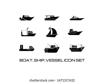 Set of Boat or Ship Icon. Consisting of Nine (9) Simple and Trendy Vessel Collection Sign Image. Isolated on White Background.- Vector