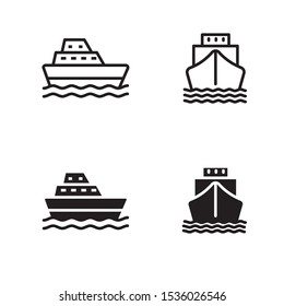 Set of boat vector illustration with simple black and white color. Boat icon