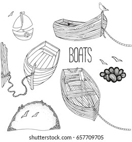 Set of boats. Black and white. Coloring book. Doodle style.