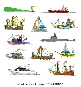 Set with boats of different ages. Doodles. Isolated  on a white background.