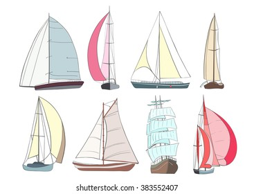 Set of boats with sails  made in the vector isolated on white background. Sport yacht, sailboat.