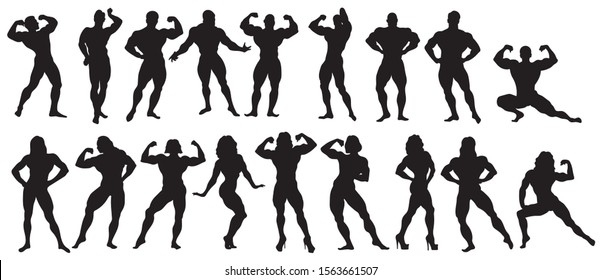 Set of bodybuilders. Collection of silhouettes of posing muscular people. Sports posing for competition. Vector illustration for sports shops. Tattoo.