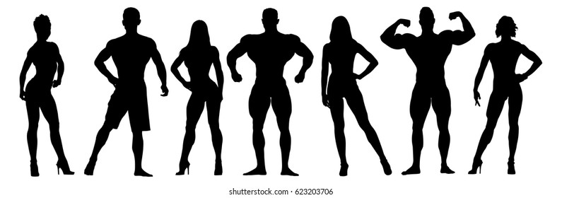 Set of bodybuilders vector silhouettes. Posing men and women. Muscular people