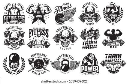 Set of bodybuilding emblems in black colour. Big bundle. Vector illustration