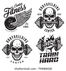 Set of bodybuilding emblems with skull wings and sport equipment in black colour. Vector illustration