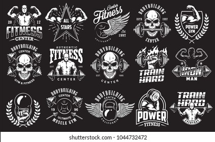 Set of bodybuilding emblems in white colour. Big bundle. Vector illustration