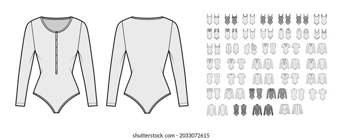 Set of bodysuits technical fashion illustration with fitted knit body, long sleeves, sleeveless, turtleneck. Flat apparel template front, back, grey color style. Women, men, unisex top CAD mockup
