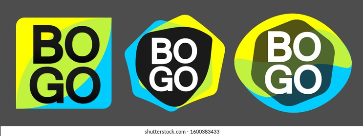 Set BOGO sale bubble banners design template, discount tags, buy 1 get 1 free, app icons, vector illustration
