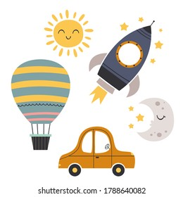 set of bohemian baby icons with transport, moon, sun -  vector illustration, eps