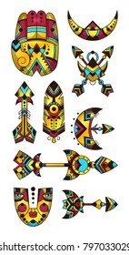 Set of bohemian symbols. Vector illustration of hamsa, arrows, moon, mask,  feather. Decorative and tattoo style.