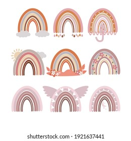A set of Boho rainbows. Cute vector. Cliparts for children's room, greeting cards, children's and children's T-shirts and clothing, hand-drawn children's native illustration