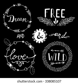 Set of Boho Style Frames and hand drawn elements. Vector illustration.