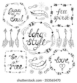 Set of boho style frames with place for your text. Hand drawn bohemian elements: arrows, feathers,wreath, spirals, signs of infinity. Vector illustration.