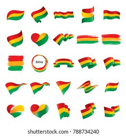 Set of Bolivia flags, vector illustration