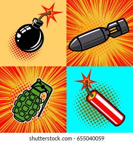Set of bomb illustrations in pop art style. Vector illustrations