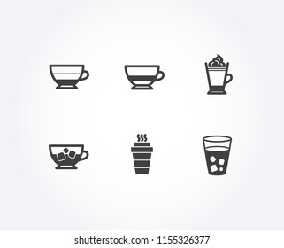 Set of Bombon coffee, Americano and Cold coffee icons. Takeaway, Ice tea signs. Cafe bombon, Beverage cup, Ice cubes in beverage. Hot drink with whipped cream.  Quality design elements. Classic style