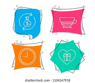 Set of Bombon coffee, Money exchange and Time icons. Romantic gift sign. Cafe bombon, Cash in bag, Office clock. Surprise with love.  Flat geometric colored tags. Vivid banners. Trendy graphic design