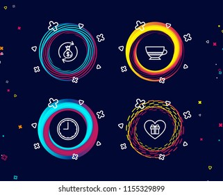 Set of Bombon coffee, Money exchange and Time icons. Romantic gift sign. Cafe bombon, Cash in bag, Office clock. Surprise with love.  Circle banners with line icons. Gradient colors shapes. Vector
