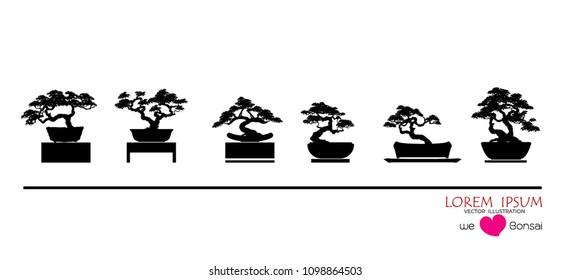 set of Bonsai, Black silhouette of bonsai. Detailed image. Vector illustration
