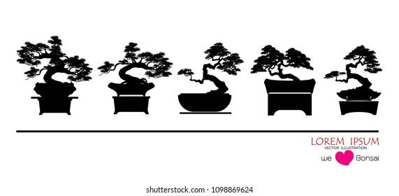 set of Bonsai, Black silhouette of bonsai. Detailed image. Vector illustration. Decorative arts. Mini tree in pot. Dwarf tree decoration art.