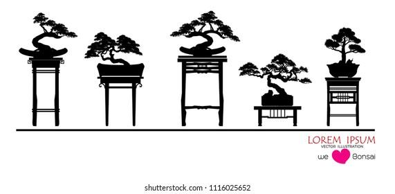 set of Bonsai, Black silhouette of bonsai. Detailed image. Vector illustration .